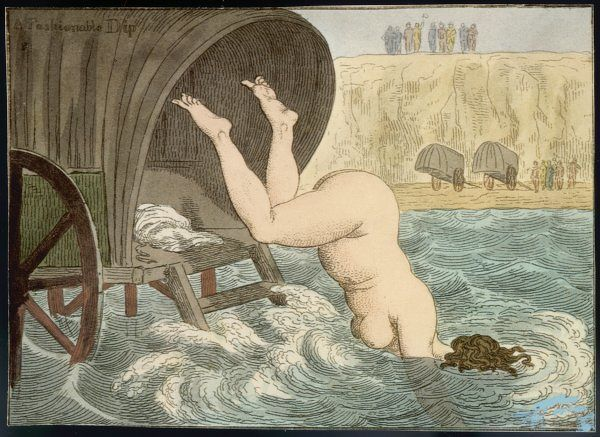 A rather portly lady dives into the sea from a bathing machine