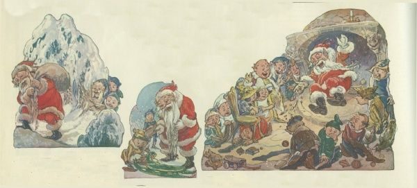 Various scenes depicting Father Christmas on his rounds