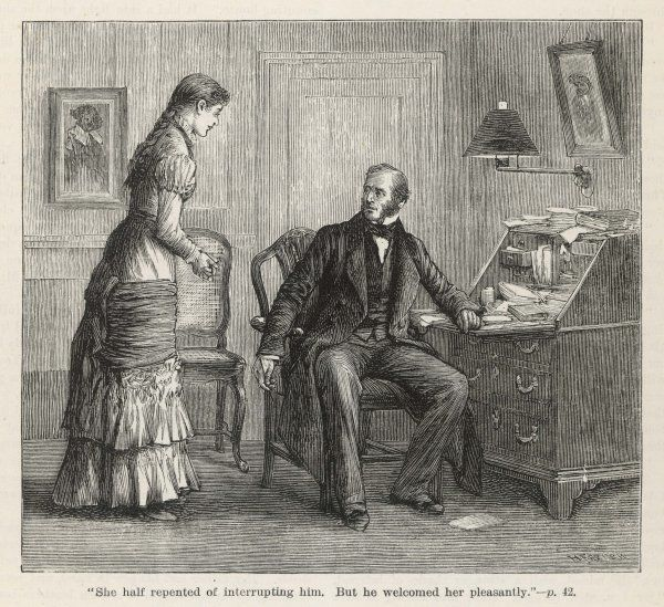 A daughter comes to see her father in his study