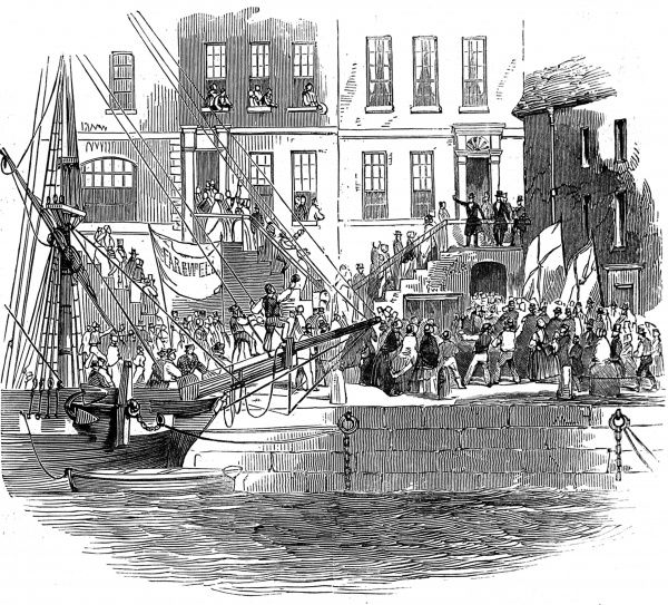 Engraving showing a dock-side scene in Cork as a crowd bid farewell to a popular priest, leaving for America
