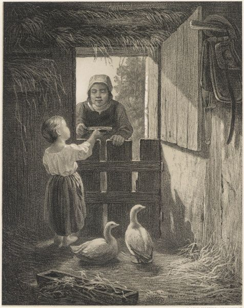 Fattening the Christmas geese in a Swedish peasant home