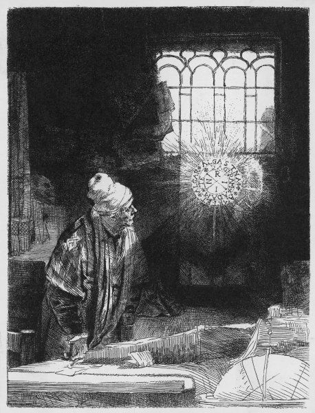 Faust in his study, conjuring up the magical forces which will restore his youth