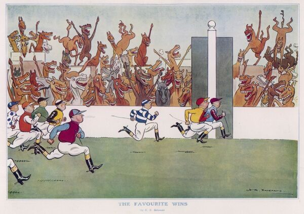 Humorous illustration by H.M. Bateman showing a reversal of roles. A group of jockeys in different coloured silks sprint for the finishing post while excitable horses in the stands cheer on the winner