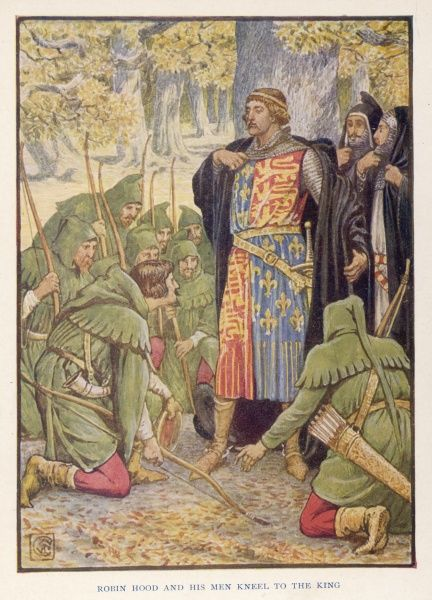 Robin Hood and his Merry Men kneel before King Richard I and swear their loyalty to him