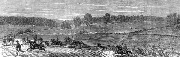 Engraving showing the Federal army advancing towards Lee Town, Jefferson County, Virginia, with Stuart's flying artillery coming into action