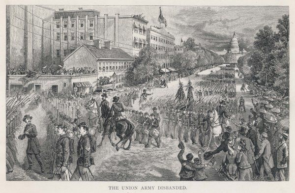 The disbanding parade of the Union Army - they march in triumph down Pennsylvania Avenue, Washington DC