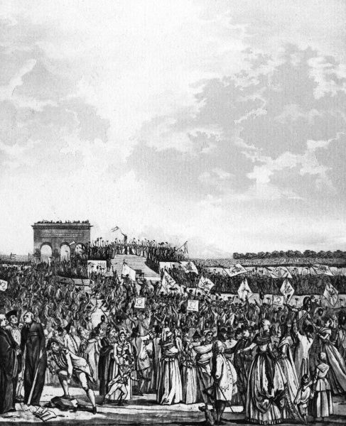 On the Champ de Mars, Parisians celebrate the Fete de la Federation, marking the first anniversary of the fall of the Bastille. Date: 14 July 1790