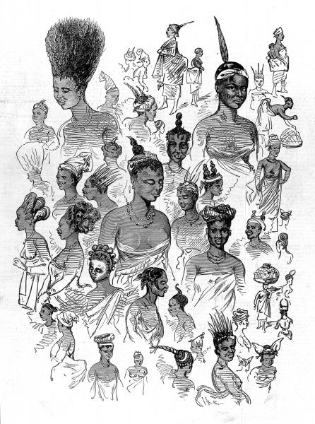Native female fashions at Cape Coast Castle, garrison and headquarters of the British colonialists till 1877