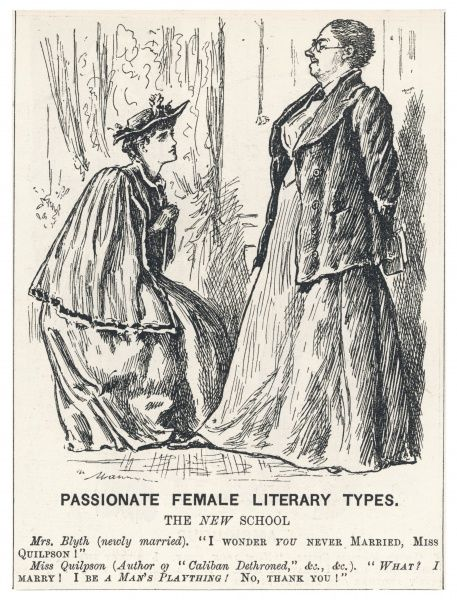 'PASSIONATE FEMALE LITERARY TYPES' Satiric comment on the 'New School', the older, educated woman here portrayed as a masculine spinster