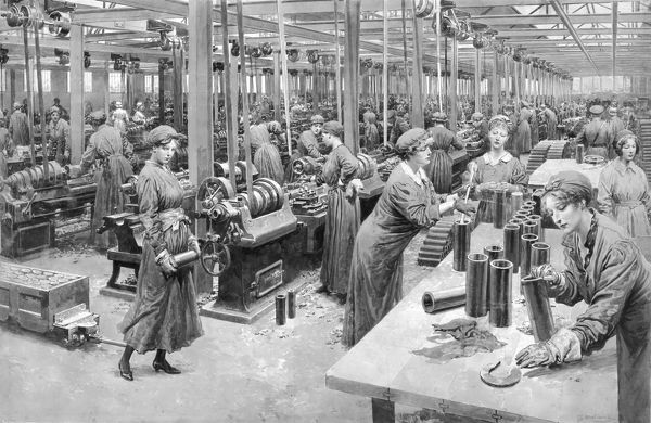 As it became clear there would be no decisive swift victory for either side in World War I, the constant demand for munitions increased, and the recruitment of women to work in the factories was a crucial factor in the war effort