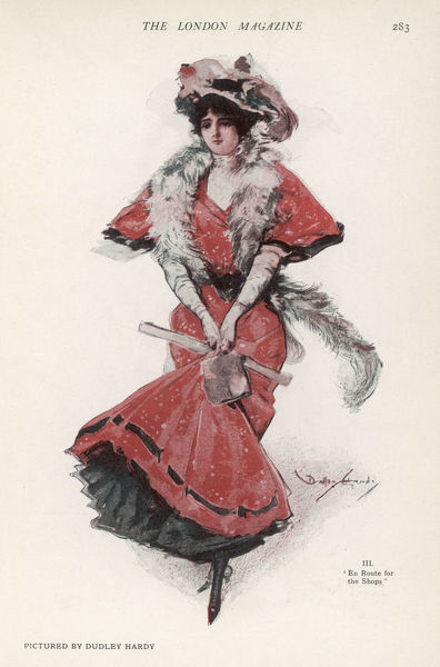 A typical young lady of 1907 'enroute for the shops' holds up her ample skirt & petticoats. She wears a feather boa. Feathers too adorn her hat