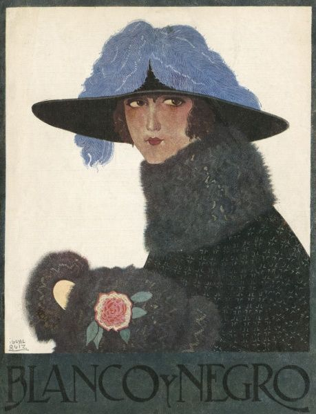 An elegant woman in a rather nice hat and warm winter clothes. Date: 1922