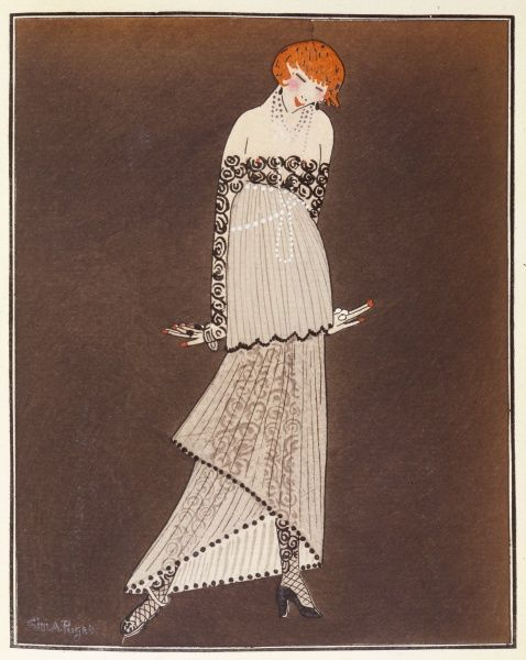 Elegant young woman, happy to be wearing an evening dress by Paul Poiret