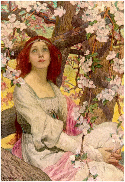 A Pre-Raphaelite style girl with long flame-coloured hair and white gown sits amongst the pink blossoms of a tree in bloom and gazes dreamily upwards