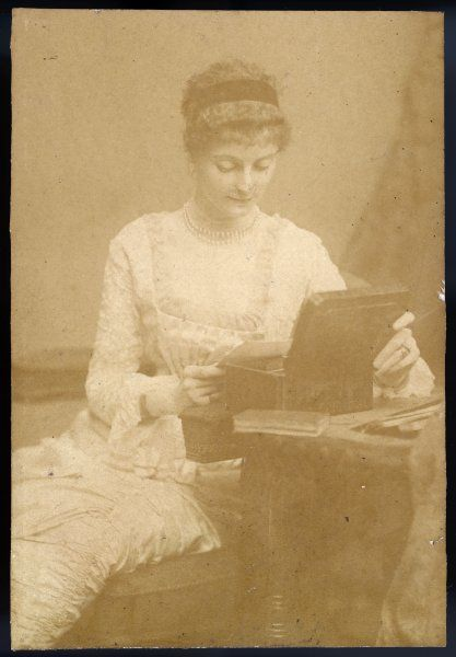 The elegant Viscountess Talbot, reading a letter