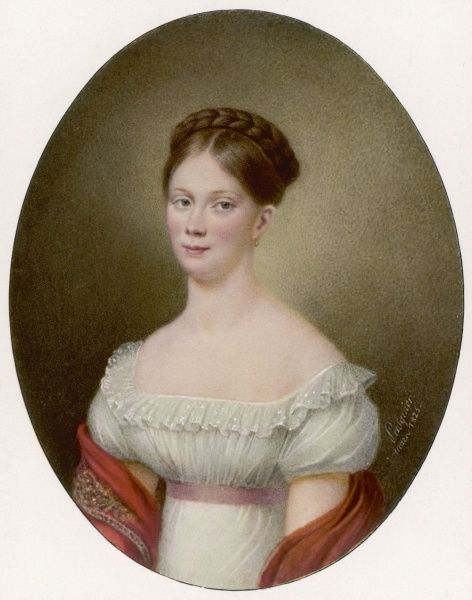 Young woman with plaited hair, wearing a simple white gown with a pink ribbon under the bust
