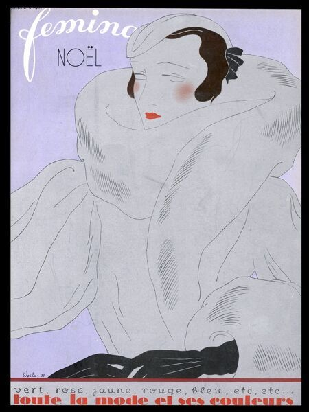 Front cover design in silver and purple showing an elegant woman dressed in coat, hat and gloves with a splash of red lipstick