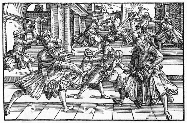 A group of men engage in combat with one another, using daggers to fence with. Date: 1570