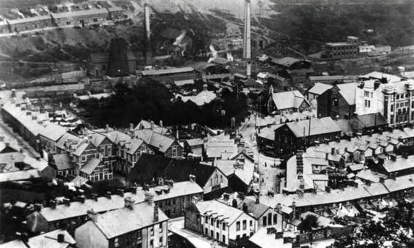 View of Ferndale Colliery (also known as Blaenllechau Colliery) and Tylorstown, Rhondda Valley, Glamorgan, South Wales