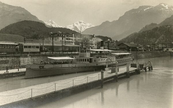 The Ferryboat Terminal, Railway Station and Jungfrau Mountain (in distance) at Interlaken