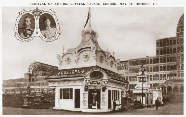 The Festival of Empire - held at Crystal Palace, Sydenham May to October 1911. In the foreground is a sponsored kiosk, providing visitors with Lemco & Oxo meat extract products. There is also advertising for Liebig meat extract above the door