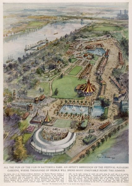 Aerial view of the the Festival pleasure gardens in Battersea Park providing entertainment, relaxation and refreshment for all during the 1951 Festival of Britain