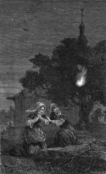 Two women praying in a French country churchyard are disturbed by the sudden appearance of a feu follet Date: 1877