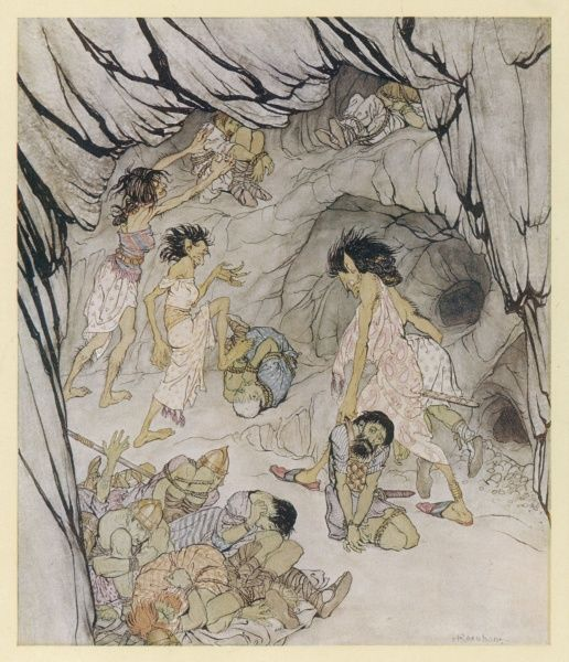 The hideous faery daughters of Conaran lure their enemies the Fianna into an enchanted cave where they are overtaken by a feebleness & bound