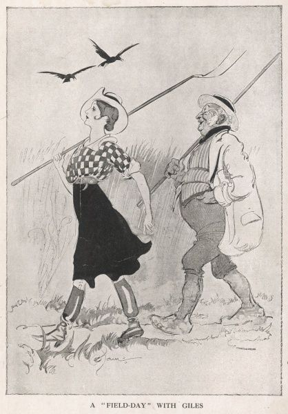 A Women's Land Army land girl, with sleeves rolled up and sunhat pulled on at a jaunty angle, strides through the fields with her pitchfork accompanied by a jovial looking farmer