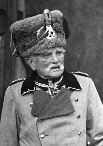 Field Marshal August von Mackensen (1849-1945), German Army officer, seen here at the age of 93, in uniform including a death's head on his headgear. Date: 1942