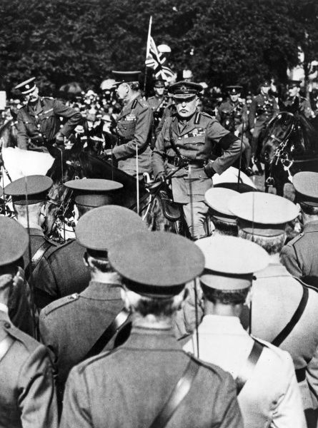 Field-Marshal Lord French (1852-1925) inspecting some 10,000 volunteers of numerous London regiments in Hyde Park, London, during the First World War