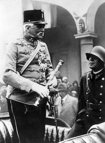 Field Marshal August von Mackensen (1849-1945), German Army officer, in Hungarian uniform during a visit to Budapest. Date: 1936