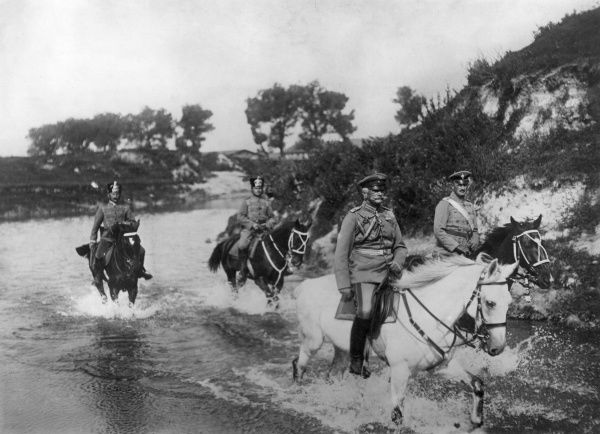 Field Marshal August von Mackensen (1849-1945), German army officer, with three others on horseback, entering Brest Litovsk, Russia (now Brest, Belarus) during the First World War. Date: 26 August 1915