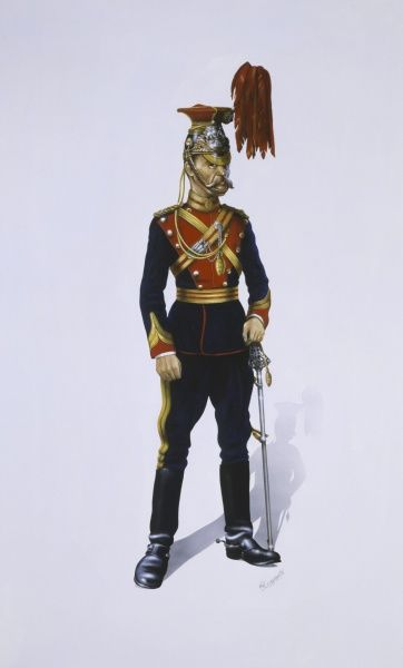 Field Officer (any officer from the rank of Lieutenant Colonel upwards) from the 12th Royal Lancers (Prince of Wales). Painting by Malcolm Greensmith