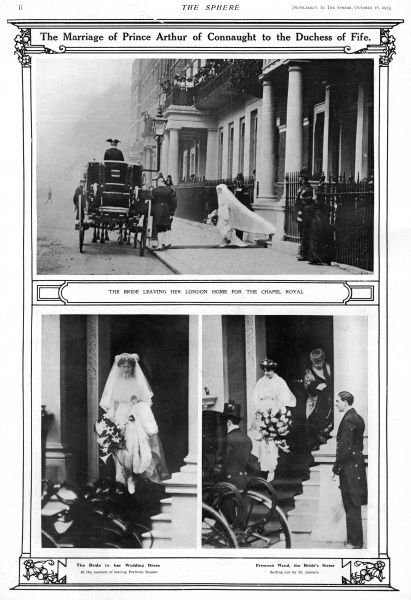 Alexandra, Duchess of Fife leaves her London home in Portman Square on the day of her wedding to her second cousin, Prince Arthur of Connaught. Date: 1883 - 1938