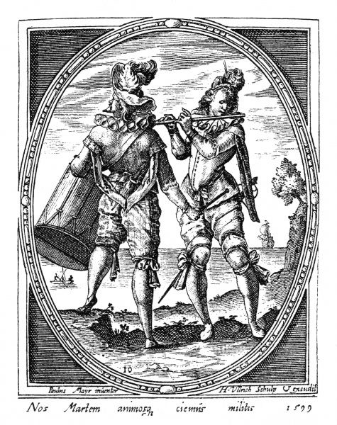Two men play a fife and a drum. Date: 1599
