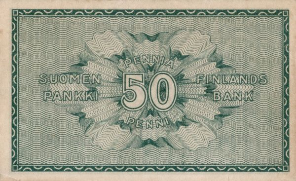 Back of a finnish banknote on 50 penni edited 1918. Date: 1918