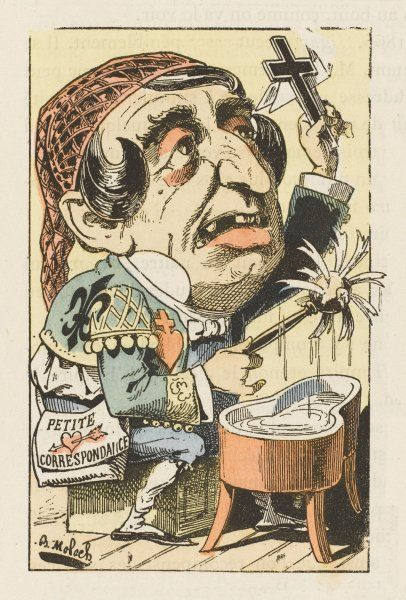 LE FIGARO French newspaper caricatured as a rather run-down 'Figaro' character from the operas of Mozart and Rossini