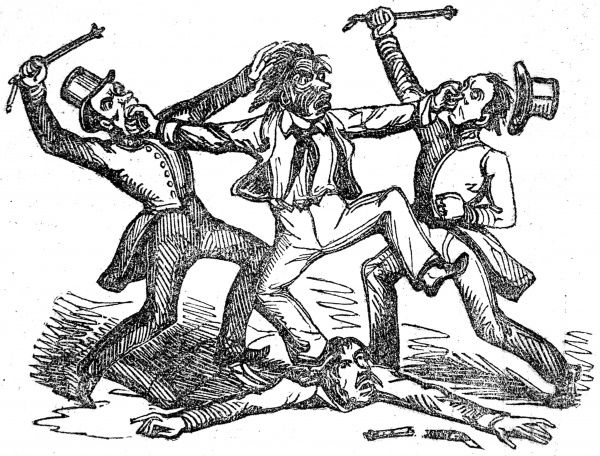 Engraving showing a brawl between a New Zealand Maori, supposedly wearing war paint, and several European men dressed in top hats, 1842