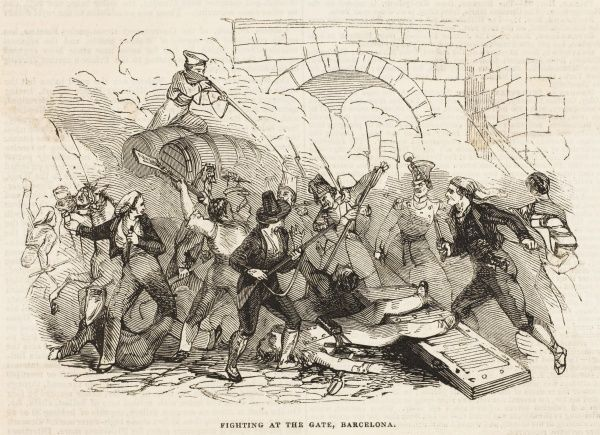 Fighting at the gate, Barcelona : the Catalonians are caught up in the Carlist Wars in addition to their own wishes for independence