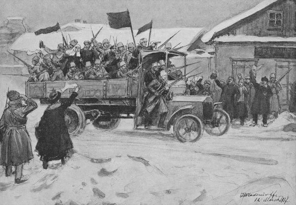 A truckload of Red Guards drive through the streets of Petrograd, acclaimed by the populace