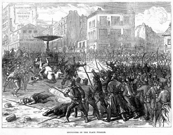 Encounter between government troops and Communards in the place Pigalle