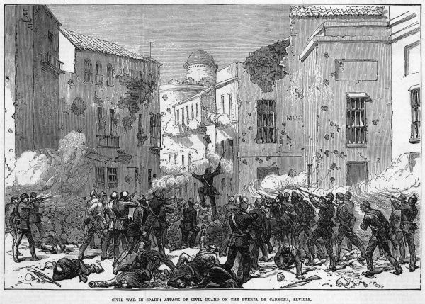 Street fighting in Sevilla : the civic guard confront the insurgents in the puerta de Cardona