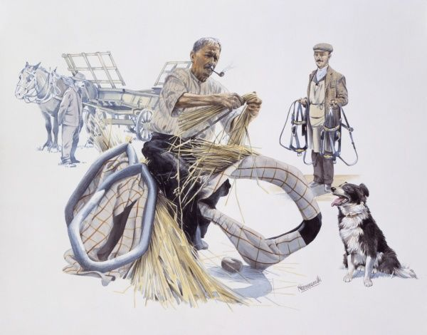 A rural craftsmans fillas a collar for a working horse with straw. Watercolour Painting by Malcolm Greensmith