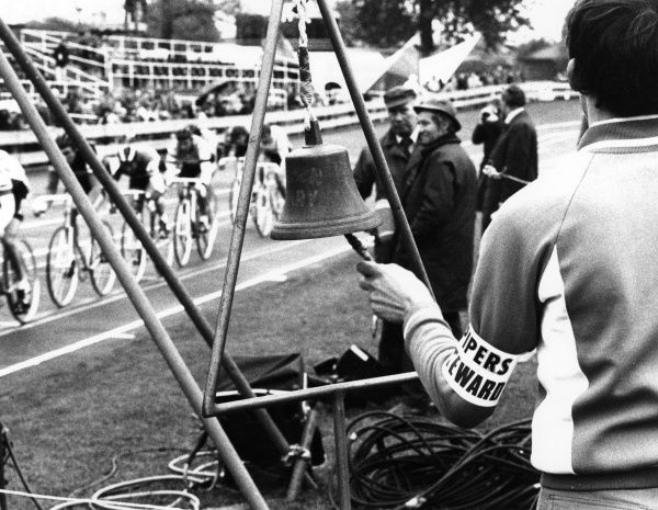 Cycle racing : Ringing the final lap bell, Nations Cup, Scotland. Date: 1980