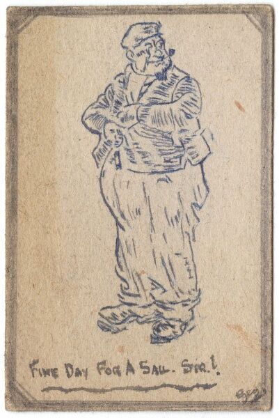 Sketch of an old sea salt smoking a pipe by George Ranstead, an amateur artist of the Great War who served in the Army Pay Corps
