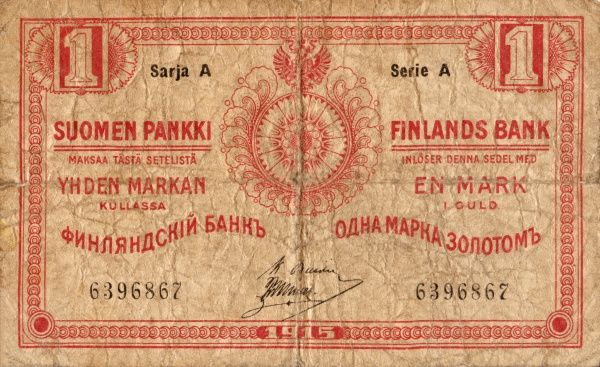 Front of a finnish banknote on 1 Mark edited 1915 Date: 1915