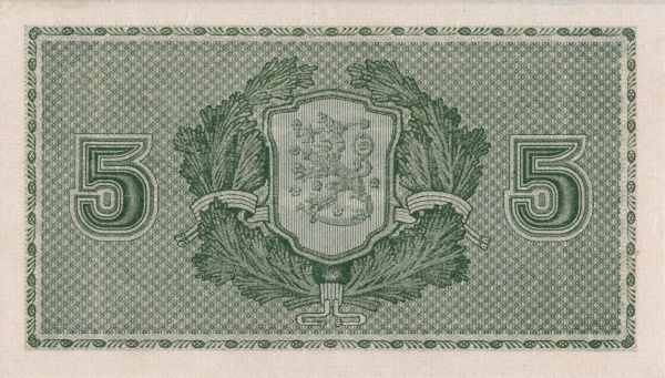 Back of a finnish banknote on 5 Mark edited 1922. Date: 1922