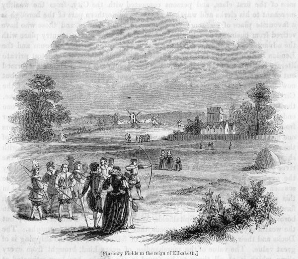 Finsbury Fields as they appeared in the time of queen Elizabeth I