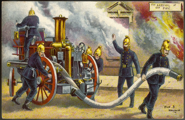 The arrival of the fire-engine